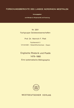 Englische Rhetorik und Poetik 1479 – 1660 von Plett,  Heinrich F