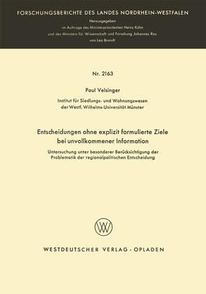 Entscheidungen ohne explizit formulierte Ziele bei unvollkommener Information von Velsinger,  Paul