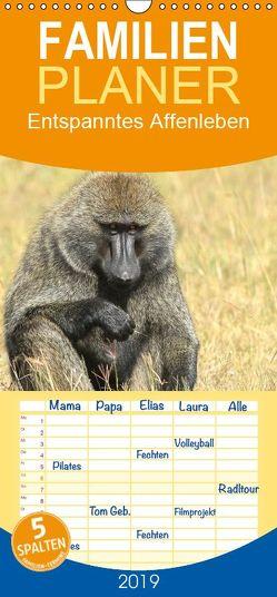 Entspanntes Affenleben – Familienplaner hoch (Wandkalender 2019 , 21 cm x 45 cm, hoch) von Herzog,  Michael