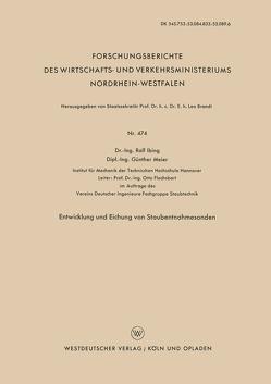 Entwicklung und Eichung von Staubentnahmesonden von Ibing,  Rolf