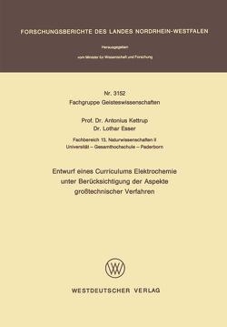 Entwurf eines Curriculums Elektrochemie unter Berücksichtigung der Aspekte großtechnischer Verfahren von Kettrup,  Antonius
