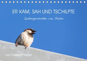 Er kam, sah und tschilpte – Spatzengeschichten vom Balkon (Tischkalender 2021 DIN A5 quer) von Hanke,  Gabriele