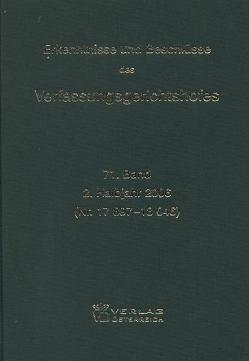 Erkenntnisse und Beschlüsse des Verfassungsgerichtshofes von Verfassungsgerichtshof d. Republik Österreich