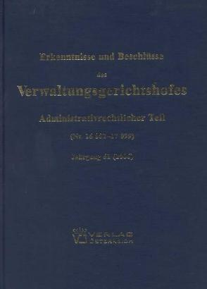 Erkenntnisse und Beschlüsse des Verwaltungsgsgerichtshofes von Bumberger,  Leopold