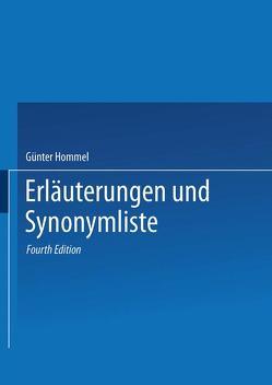 Erläuterungen und Synonymliste von Hommel,  Günter