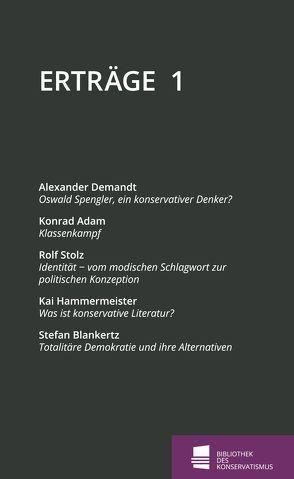 Erträge von Adam,  Konrad, Blankertz,  Stefan, Demandt,  Alexander, Hammermeister,  Kai, Neuhaus,  Patrick, Stolz,  Rolf