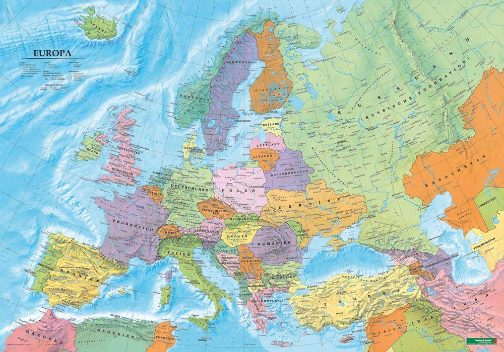 Europa Politisch Poster 1 6 Mio Metallbestäbt In Rolle Von