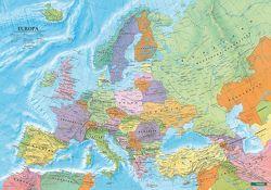 Europa politisch, Poster 1:6 Mio., Metallbestäbt in Rolle von Freytag-Berndt und Artaria KG