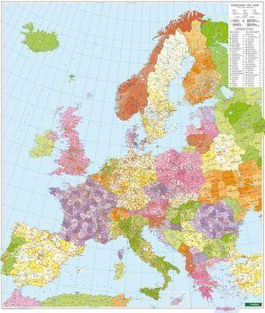 Europa Postleitzahlen, Postleitzahlenkarte 1:3,7 Mio., Poster, metallbestäbt