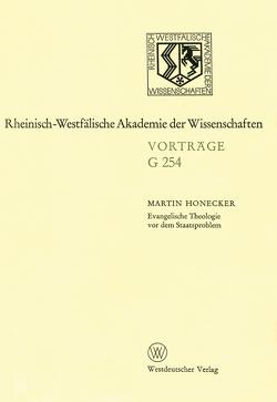 Evangelische Theologie vor dem Staatsproblem von Honecker,  Martin
