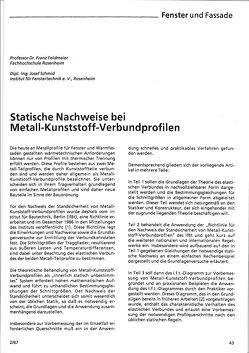 Fachartikel: Statische Nachweise bei Metall-Kunststoff-Verbundprofilen von ift Rosenheim GmbH