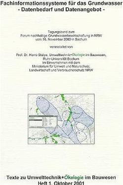 Fachinformationssysteme für das Grundwasser – Datenbedarf und Datenangebot von Stolpe,  Harro