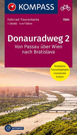 Fahrrad-Tourenkarte Donauradweg 2, Von Passau über Wien nach Bratislava von KOMPASS-Karten GmbH