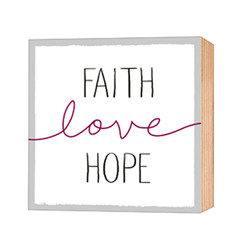 Faith-Love-Hope – Holz-Deko-Bild 12×12