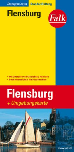 Falk Stadtplan Extra Standardfaltung Flensburg mit Ortsteilen von Glücksburg