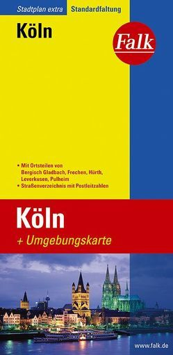 Falk Stadtplan Extra Standardfaltung Köln mit den Ortsteilen von