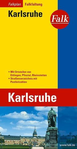Falk Stadtplan Falkfaltung Karlsruhe mit Ortsteilen von Ettlingen, Pfinztal, Rhe