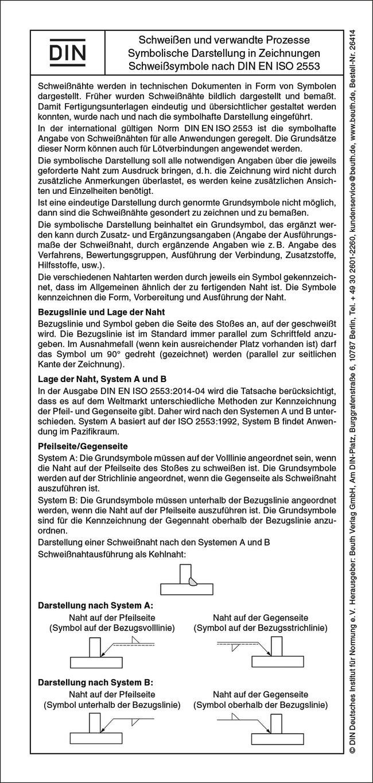 Schweißsymbole nach DIN EN ISO 2553 von Bertschat, Harry: Schweißen
