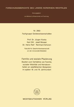 Familie und soziale Plazierung von Kocka,  Jürgen