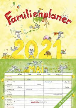 Familienplaner Cartoon 2021 – Familienkalender A3 (29,7×42 cm) – mit 6 Spalten – mit Ferienterminen – Wandplaner – mit viel Platz für Notizen – Alpha Edition