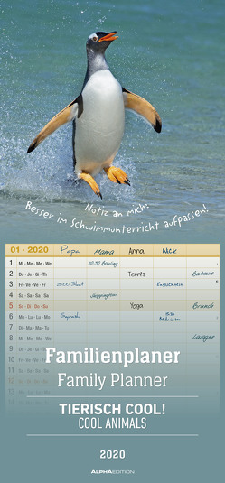 Familienplaner Tierisch Cool! 2020 – Familientermine – Familientimer (21 x 45) – 5 Spalten – Wandplaner – Familienkalender von ALPHA EDITION