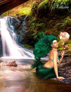 Fantasy Notizbuch: Tjirell, die Meerjungfrau – weiße Seiten mit Eckmotiv von Sternenfeuer,  Samuriel