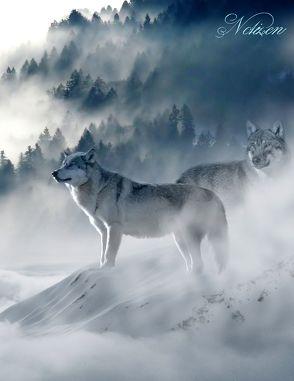 Fantasy Notizbuch: Wölfe im Nebel – weiße Seiten mit Eckmotiv von Sternenfeuer,  Samuriel