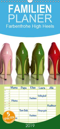 Farbenfrohe High Heels – Familienplaner hoch (Wandkalender 2019 , 21 cm x 45 cm, hoch) von Laser,  Britta