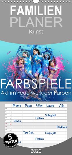 FARBSPIELE – Akt im Feuerwerk der Farben – Familienplaner hoch (Wandkalender 2020 , 21 cm x 45 cm, hoch) von Allgaier (ullision),  Ulrich