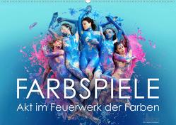 FARBSPIELE – Akt im Feuerwerk der Farben (Wandkalender 2019 DIN A2 quer) von Allgaier (ullision),  Ulrich