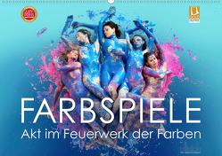 FARBSPIELE – Akt im Feuerwerk der Farben (Wandkalender 2020 DIN A2 quer) von Allgaier (ullision),  Ulrich
