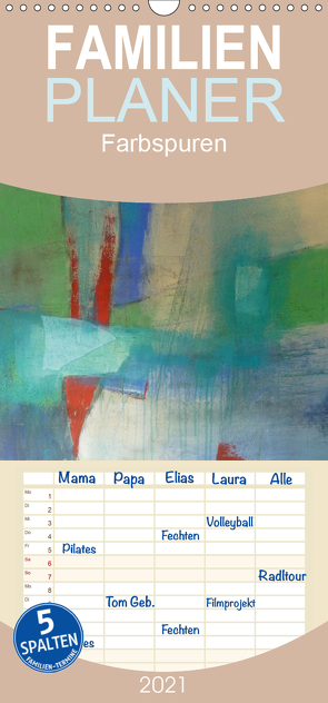Farbspuren – Kunstkalender – Familienplaner hoch (Wandkalender 2021 , 21 cm x 45 cm, hoch) von Tomasch,  Susanne