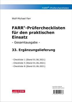 Farr, Prüfercheckl. 33. Erg.Lief. z. Grundwerk, inkl. CL 1,5 + 8 von Farr,  Wolf-Michael