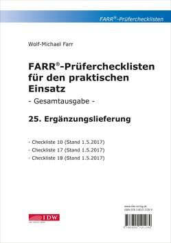 FARR Prüferchecklisten für den praktischen Einsatz von Farr,  Wolf-Michael