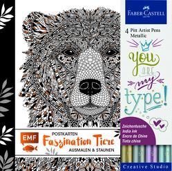 Faszination Tiere Postkarten Set mit 4 original Faber-Castell Pitt Artist Pens Metallic