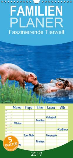 Faszinierende Tierwelt – Mit wilden Tieren durch das Jahr – Familienplaner hoch (Wandkalender 2019 , 21 cm x 45 cm, hoch) von Wegner,  Petra