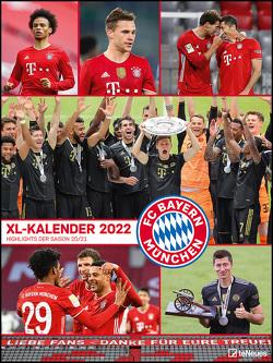 FC Bayern München 2022 – Poster-Kalender-XL – Fan-Kalender – Fußball-Kalender – 48×64 – Sport