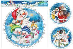 Fensterdeko Weihnachten Fensterbild Schneemann Weihnachtsmann wiederverwendbar Kinderzimmer