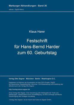 Festschrift für Hans-Bernd Harder zum 60. Geburtstag von Harer,  Klaus, Schaller,  Helmut