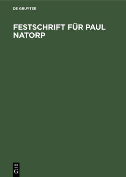 Festschrift für Paul Natorp von Cassirer,  Ernst
