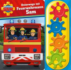 Feuerwehrmann Sam – Unterwegs mit Feuerwehrmann Sam – Interaktives Pappbilderbuch mit 4 Zahnrädern und 5 Geräuschen für Kinder ab 3 Jahren