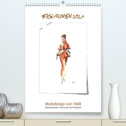FIGURINEN 2021 – Modedesign von 1949 – Zeichnungen von Elina Ruffinengo (Premium, hochwertiger DIN A2 Wandkalender 2021, Kunstdruck in Hochglanz) von Ruffinengo / Elina Ruffinengo,  Rolando