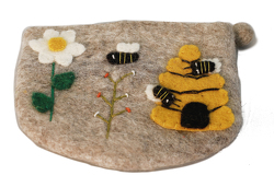 Filztasche Bienenkorb mit Blume von Engeln,  Reinhard