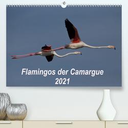 Flamingos der Camargue 2021 (Premium, hochwertiger DIN A2 Wandkalender 2021, Kunstdruck in Hochglanz) von Photo-Pirsch