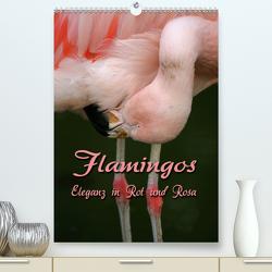 Flamingos – Eleganz in Rot und Rosa (Premium, hochwertiger DIN A2 Wandkalender 2021, Kunstdruck in Hochglanz) von Berg,  Martina