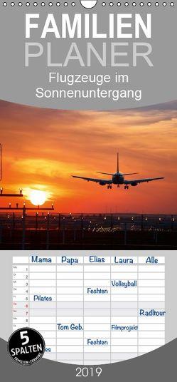 Flugzeuge im Sonnenuntergang – Familienplaner hoch (Wandkalender 2019 <strong>21 cm x 45 cm</strong> hoch) von Gräbner,  Holger
