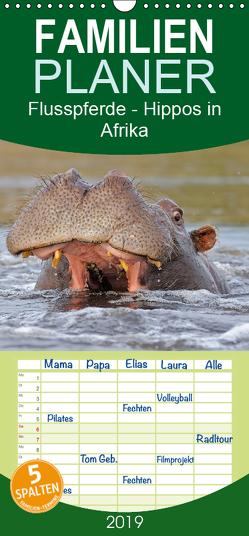 Flusspferde Magie des Augenblicks – Hippos in Afrika – Familienplaner hoch (Wandkalender 2019 , 21 cm x 45 cm, hoch) von Wisniewski,  Winfried