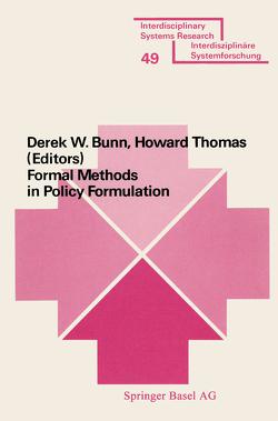 Formal Methods in Policy Formulation von BUNN, HOWARD