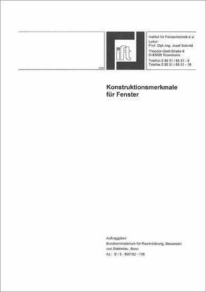 Forschungsbericht: Konstruktionsmerkmale für Fenster von ift Rosenheim GmbH