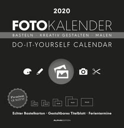Foto-Bastelkalender schwarz 2020 – Bastelkalender – Do it yourself calendar (32 x 33) – datiert – Kreativkalender – Fotokalender von ALPHA EDITION